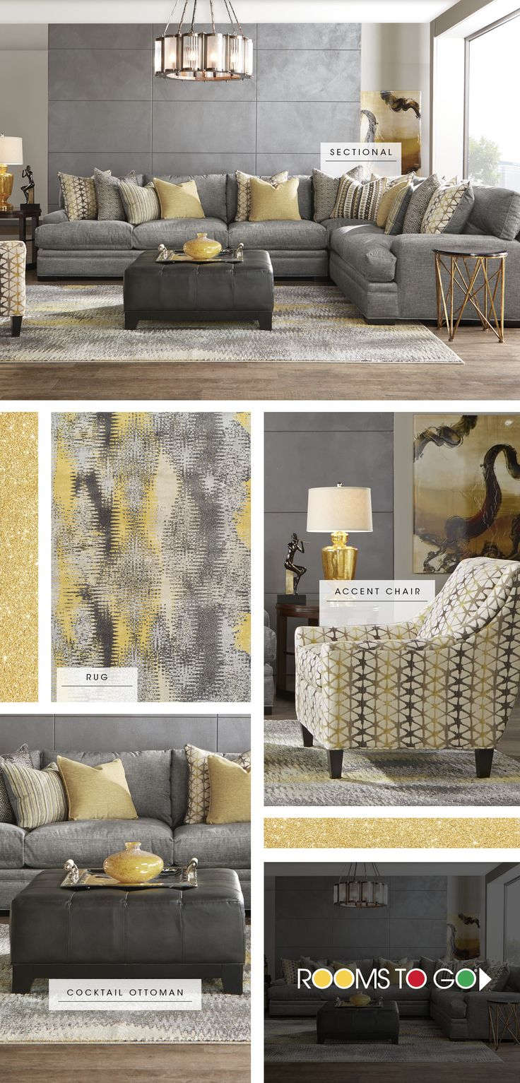Discover the key pieces of a comfy living room with our Palm Springs room break down. The sectional's plush woven upholstery has a lavish feel and on trend gray color. Add a pop of yellow with an accent chair, and carry it over into the area rug. Finish the look with a upholstered ottoman that doubles as a coffee table, and you have a room that's modern and inviting. Shop now!