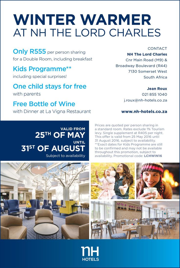 Winter Warmer Special at NH the Lord Charles hotel in Somerset West.
