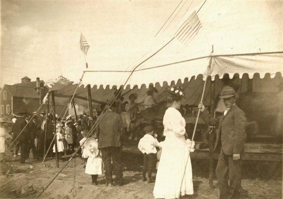 Victorian Carousel and Carnival Crowd Cabinet Photo by obscurio, #etsy 75.00