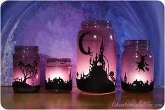 Linternas con frascos halloween Más