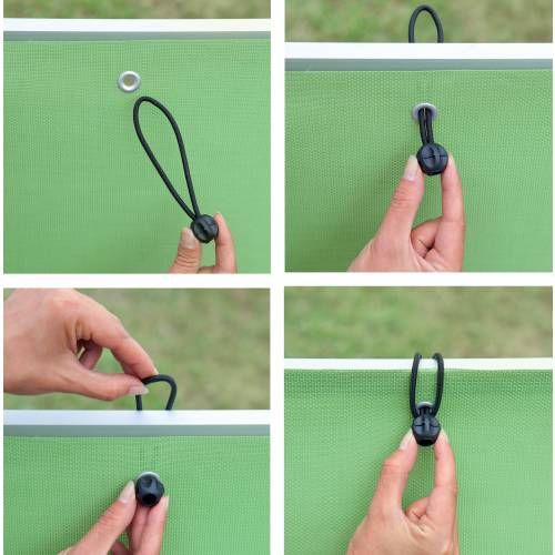 Elastic ties eyelets.  Lots of uses.  In this case, attaching privacy panels for your balcony.