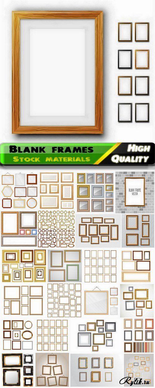 Пустые деревянные рамки вектор. Set of pictures blank frames