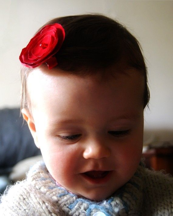 Red Rose Satin Clips - girls or ladies (one clip) - girls hair clips