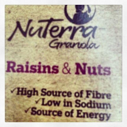NuTerra #Nuts & #Raisins   42% Fairtrade ingredients!  Cane sugar, raisins, peanuts, coconut ,cashews, & almonds traded in compliance with Fairtrade Standards. Visit www.info.fairtrade.net      #Granola #Fairtrade #cereal