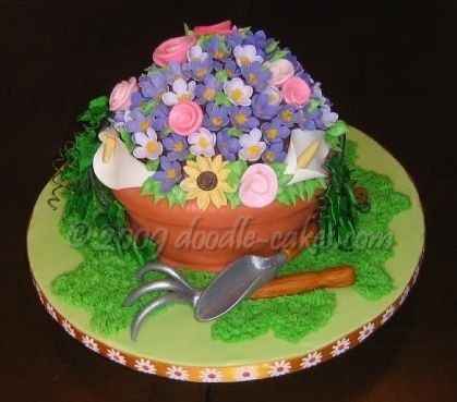 Flower garden birthday cake google search girl 39 s for Gardening 80th birthday cake