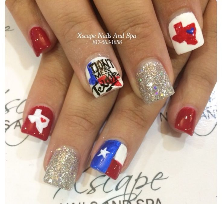 July 4th nails designs, texas nails, red nails, bling nails