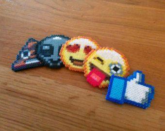 YOUR CHOICE Custom Hama Perler Bead Emoji Emoticon Face Keychain Pin Jewelry or Magnet