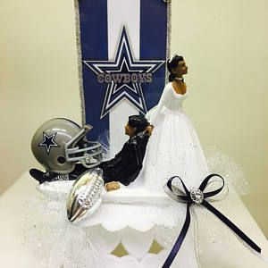 Cowboys wedding cake topper, funny cake topper, NFL cake topper, NFL cake topper, football cake topper, sports cake toppers, bride and groom