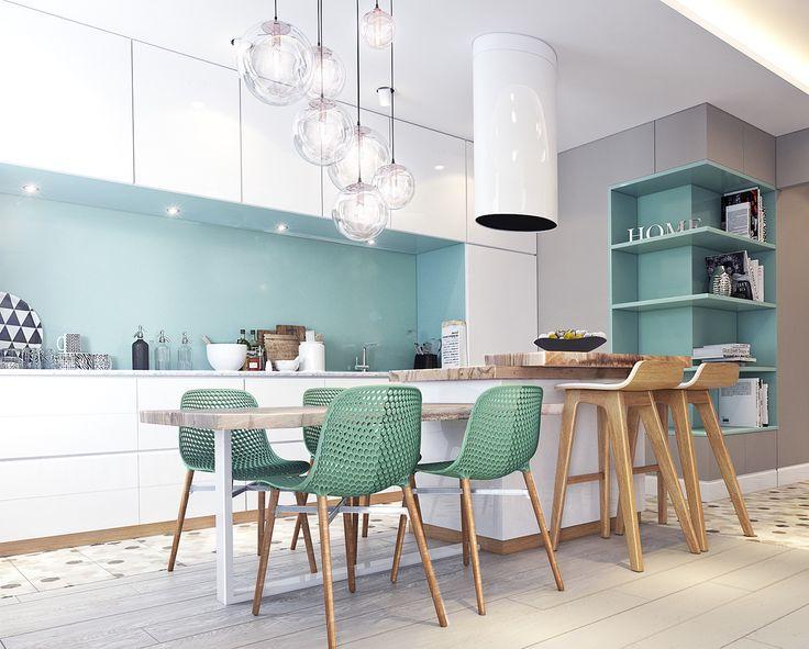 Inspiration #déco pour une #cuisine ouverte ! #blanc #turquoise #décoration #appartement #bois http://www.m-habitat.fr/penser-sa-cuisine/implantation-cuisine/delimiter-une-cuisine-ouverte-sur-le-salon-3838_A