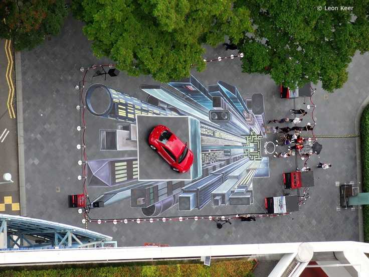 From Above. 3D street art in Singapore  150 m2, painted with acrylics directly on the street by Leon Keer, Ruben Poncia and Remko van Schaik. Commissioned by DBS, organized by Division Communications.