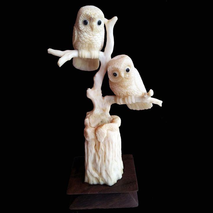 Hand Carved Owl Statue Natural Buffalo Bone Sculpture Home Decoration #3 #Handmade #Contemporary