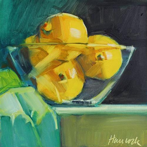 """""""Bowl of Lemons on Black and Teal"""" - Original Fine Art for Sale - © Gretchen Hancock"""