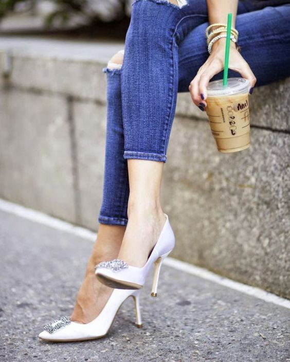 08b06064a18 Manolo Blahnik Hangisi Jeweled Pump White  outfit  street  style ...