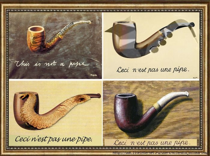 """Milendia in style of Magritte Rene """"This is not a pipe""""   this_is_not_a_pipe2"""