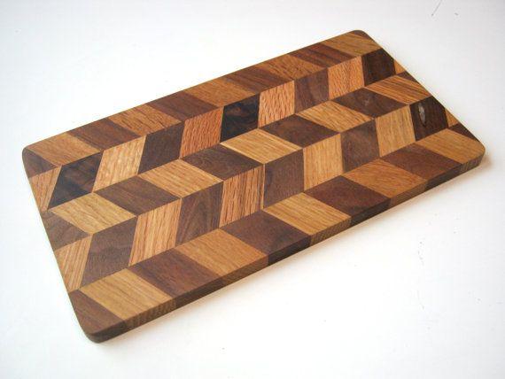 chevron herringbone wood cutting board or cheese board by edgertor