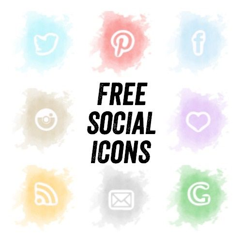 Free Watercolour Social Media Icon Set