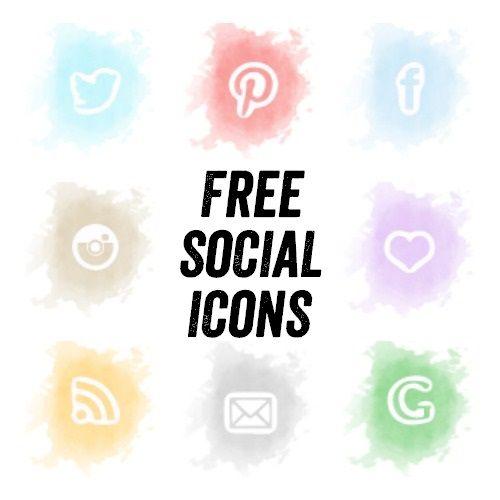 Free Watercolour Social Media Icon Set
