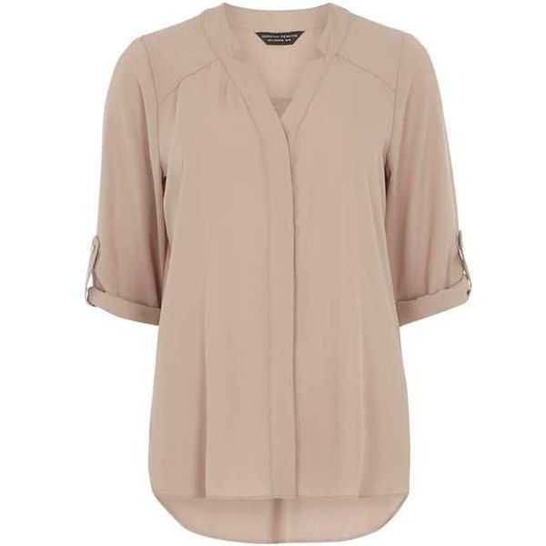 Stone Notch Neck Shirt - Blouses & Shirts - Clothing - Dorothy Perkins (495 MXN) ❤ liked on Polyvore featuring tops, blouses, brown blouse, split neck top, split neck blouse, brown tops and brown shirt