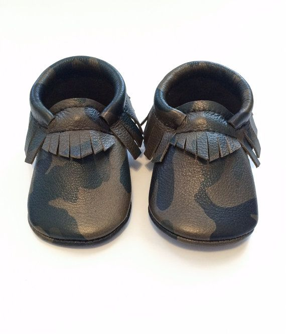 Baby Moccasins Toddler Moccasins Camo Leather by WildExplorers