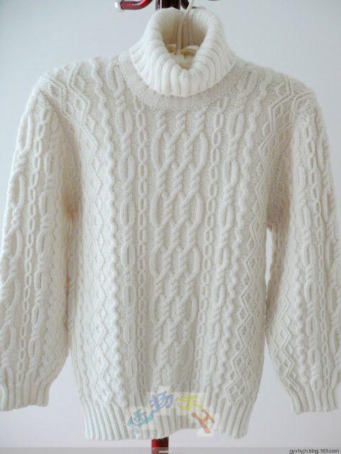 Модели вязания со схемами и описаниями: Белый мужской свитер с аранами