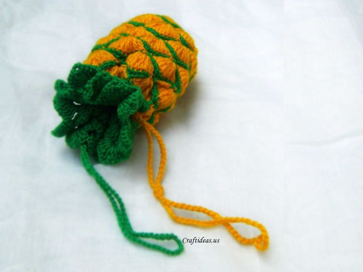 Crochet pineapple bag for kids. How to Crochet pineapple Yellow yarn: Round 1: ch 6, 1slst to form a circle. Round 2: ch 3, 11 double crochet in the circle. Round 3: ch 3, 4dc in the same stitch with … Continue reading →