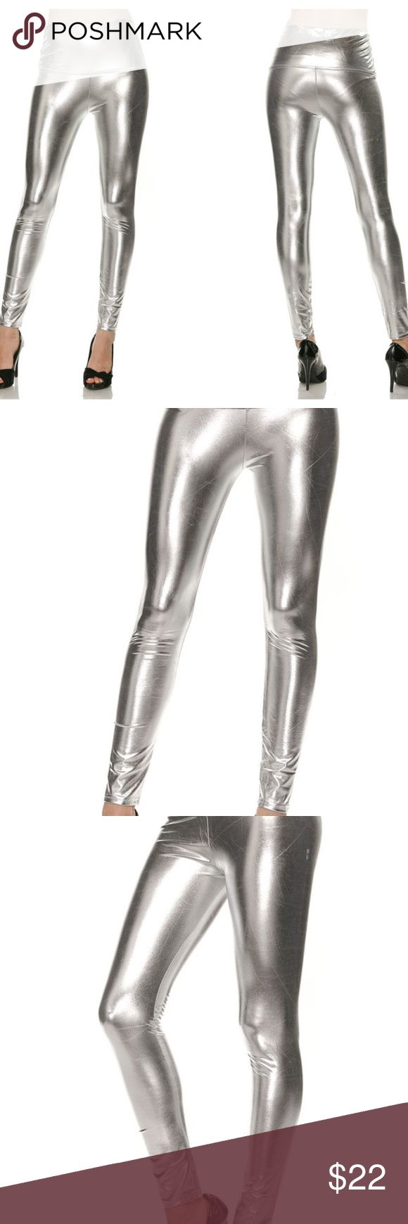 "Silver Faux Leather Leggings S/M High waisted vegan shiny silver liquid leather stretch legging \ footless tights. Elastic waistband. Perfect with a rocker tee & some combat boots, or chunky oversized sweater/tunic. 92% polyester 8% spandex. PLEASE SELECT YOUR CHOICE OF: ""Small/Medium"" or ""Medium/Large"". (Other sizes shown below are for search results only) Black available in another listing.  Price Firm Unless Bundled No Trades Pants Leggings"