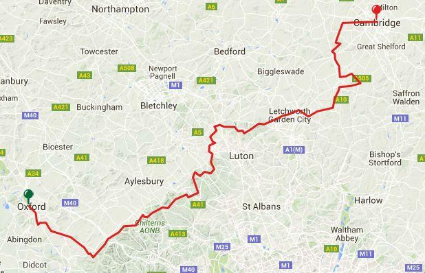 Viewranger GPS file for the Oxbridge Varsity Link Oxford-Dunstable-Letchworth Garden City-Cambridge 6 Stages [212km]