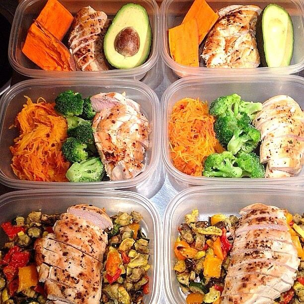 """Box Lunch Ideas  (1) Grilled chicken, sweet potato and 1/2 avocado. (2) Grilled chicken & Spaghetti Squash """"Pasta"""" with tomato sauce (or diced tomatoes) and steamed or roasted broccoli (3) Grilled chicken and coconut oil roasted veggies including eggplant, bell peppers"""