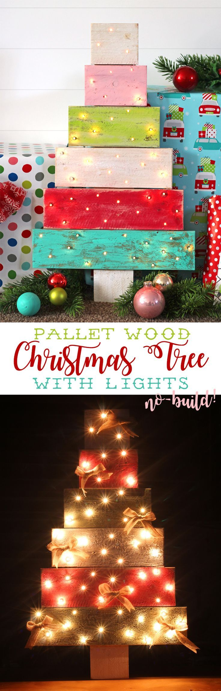 Make a pallet wood Christmas tree with lights without having to build it from scratch! Hurray! Such a cute DIY Christmas decoration.