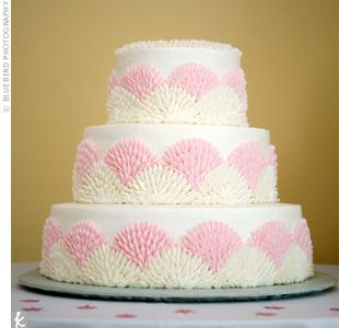 Pink And Ivory Scalloped Cake