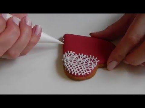 Украшение айсингом пряник ажурное сердце - YouTube