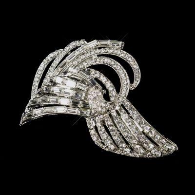 Isabella Bridal Hair-Clip: Art Deco Design with Baguettes