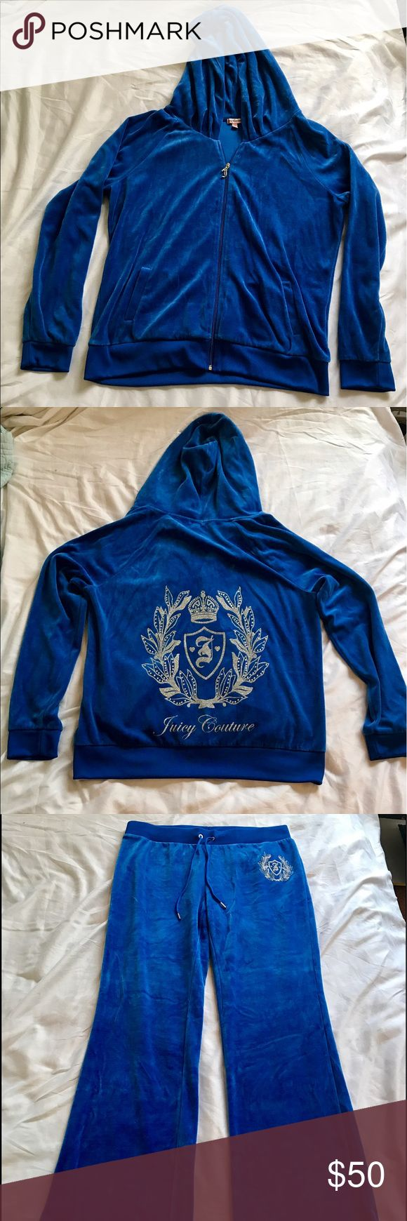 2 Juicy Couture sweat suits Blue Velour sweatsuit (full length pant) & Pink Terry sweatsuit (Capri pants) Juicy Couture Other