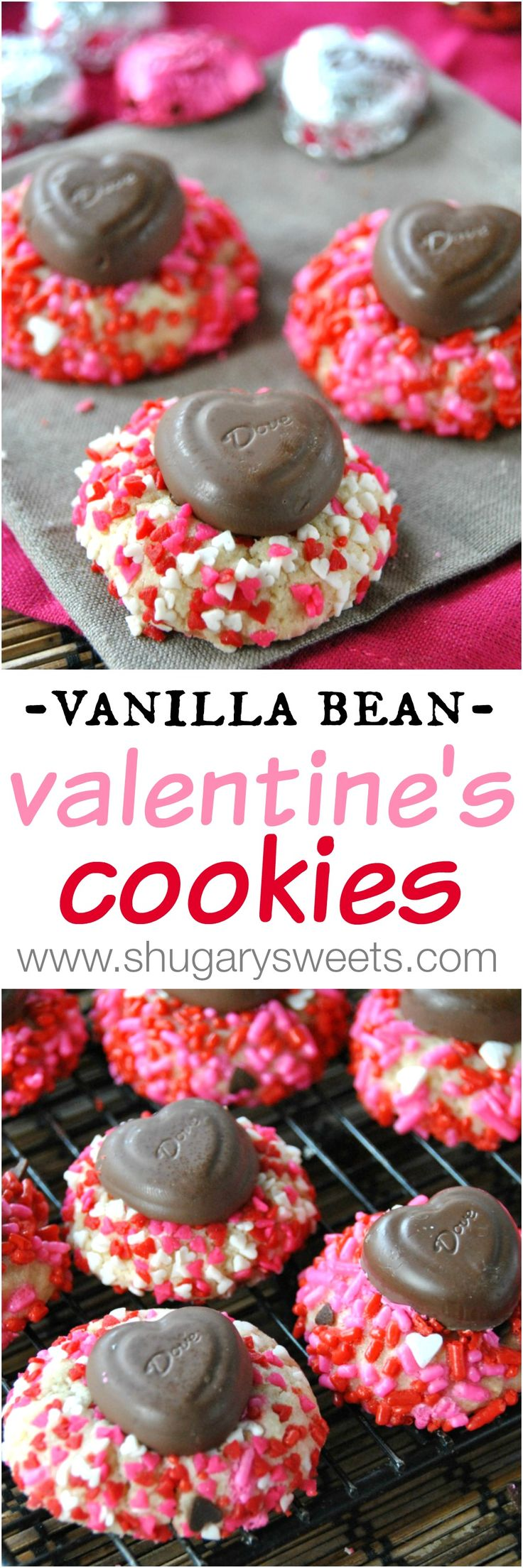 Vanilla Bean Valentine's Day Cookies with #Dove chocolate hearts: delicious gems of a cookie covered in sprinkles