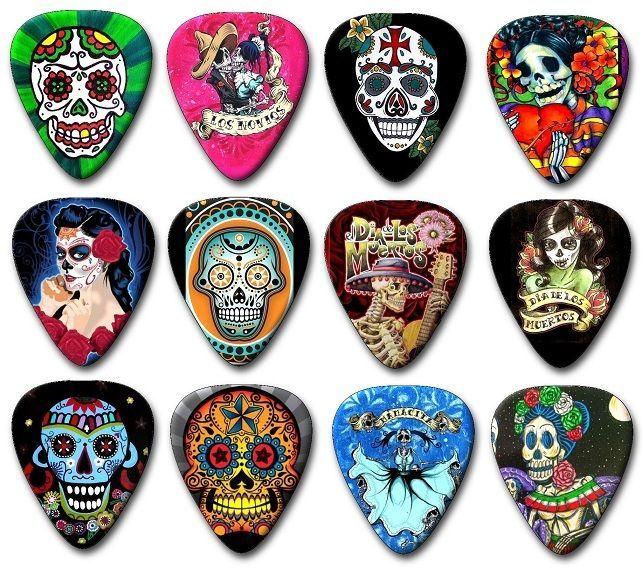 12 Sugar Skulls ~ Day of the Dead ~ Guitar Picks ~ Plectrums Printed Both Sides