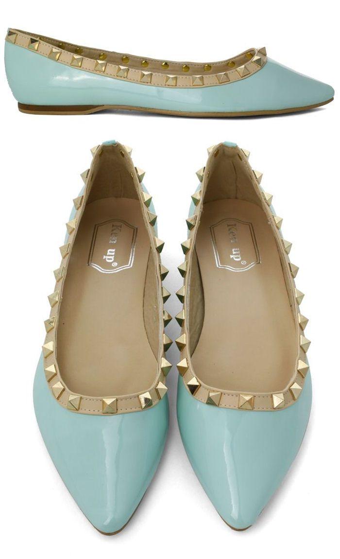 Rockstud Ballet Flats in Mint <3