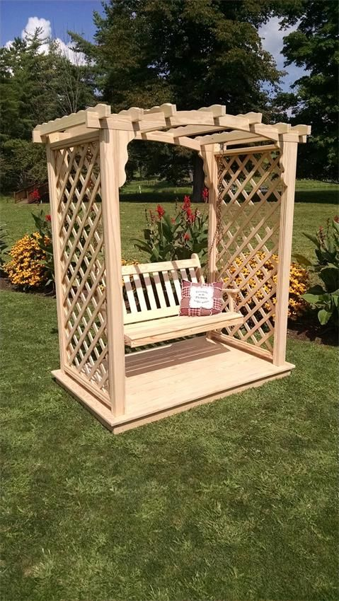 Pine 5' Jamesport Garden Arbor Swing with Deck