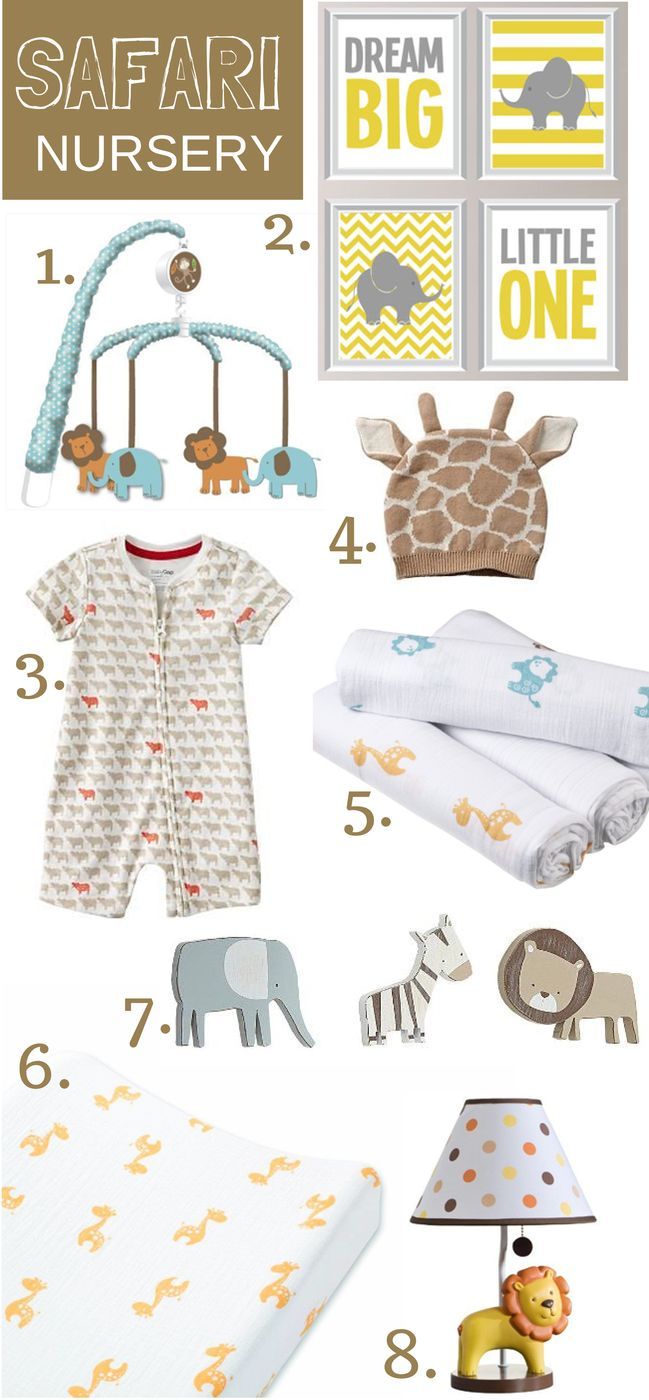 Our favorite things for a safari nursery theme featuring adorable items from @Allison Dencker + anais @Carter White's Babies and Kids @Etsy