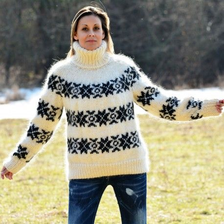 Icelandic Hand Knit Mohair and Wool Sweater White and Black Fuzzy Turtleneck