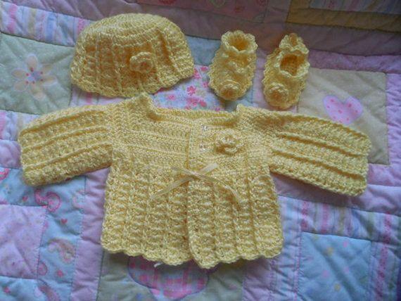 2c4018486 Crochet baby sweater yellow baby sweater by TillieLuvsTreasures ...