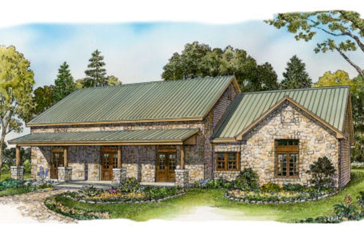Ranch Front Elevation Plan #140-153 - Houseplans.com