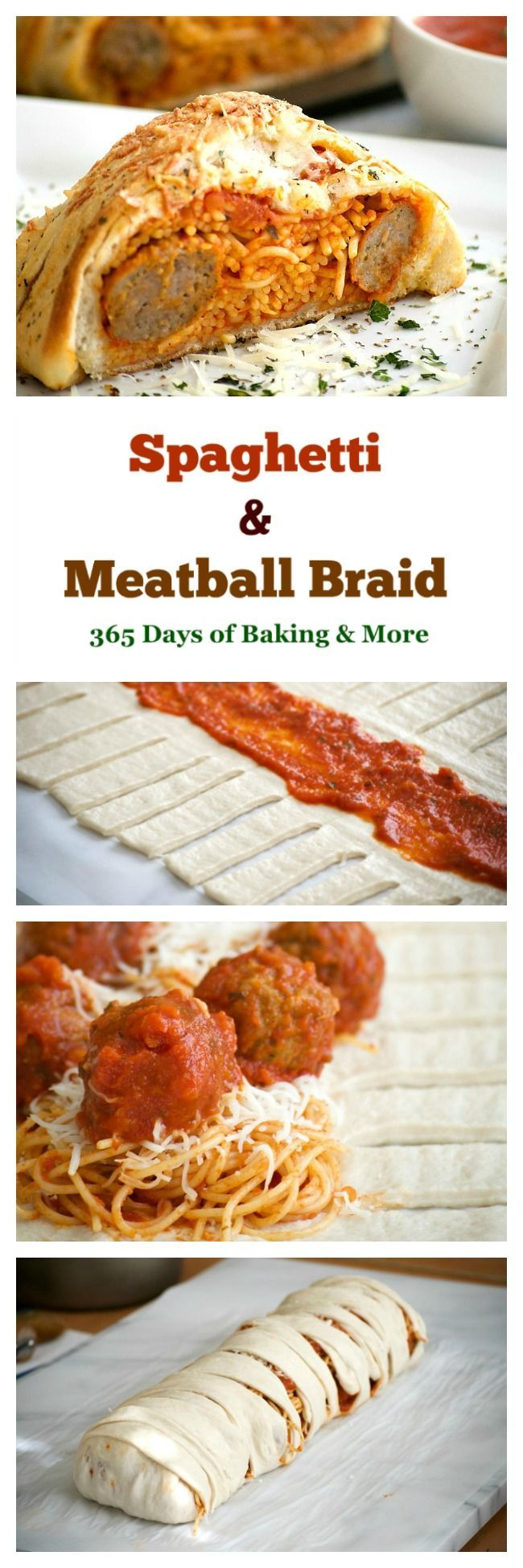This Spaghetti and Meatball Braid is a new twist on good ol' comfort food - spaghetti and meatballs in pizza dough! It's a fun new way to feed the family.
