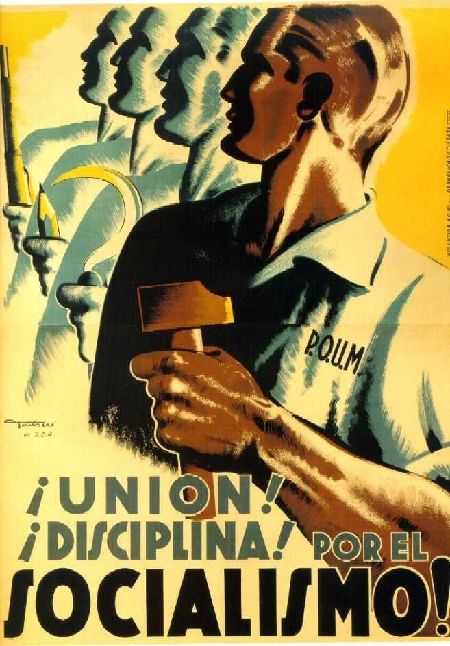 """Cartel de propaganda del POUM. Autor: Carles Fontseré. """"¡Unión! ¡Disciplina! Por el socialismo"""" (1936 - Atlántida)"""