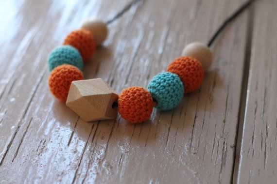 Crochet Wooden Bead Necklace ~ Orange & Blue ~ Love the colours - FredandPepperShop