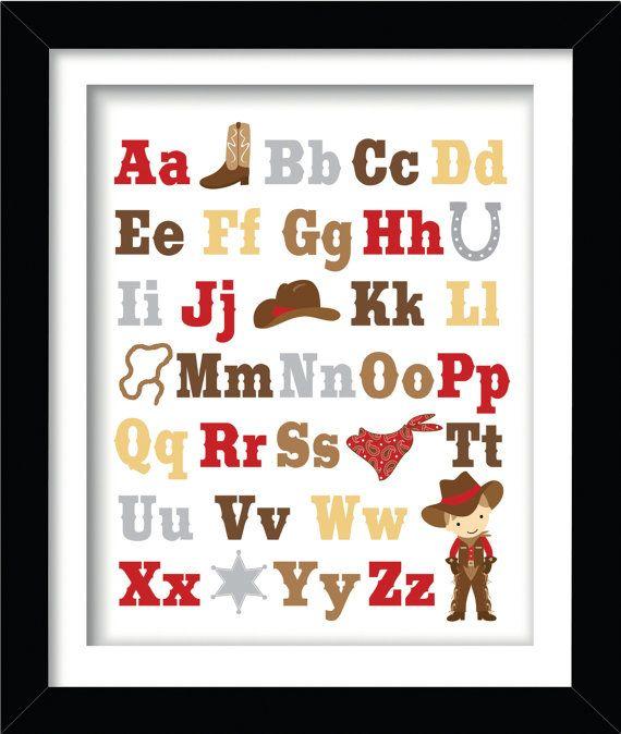 ABC Cowboy Boy Themed Nursery Print in a 8 x 10 by AmyRoseDesigns, $15.00