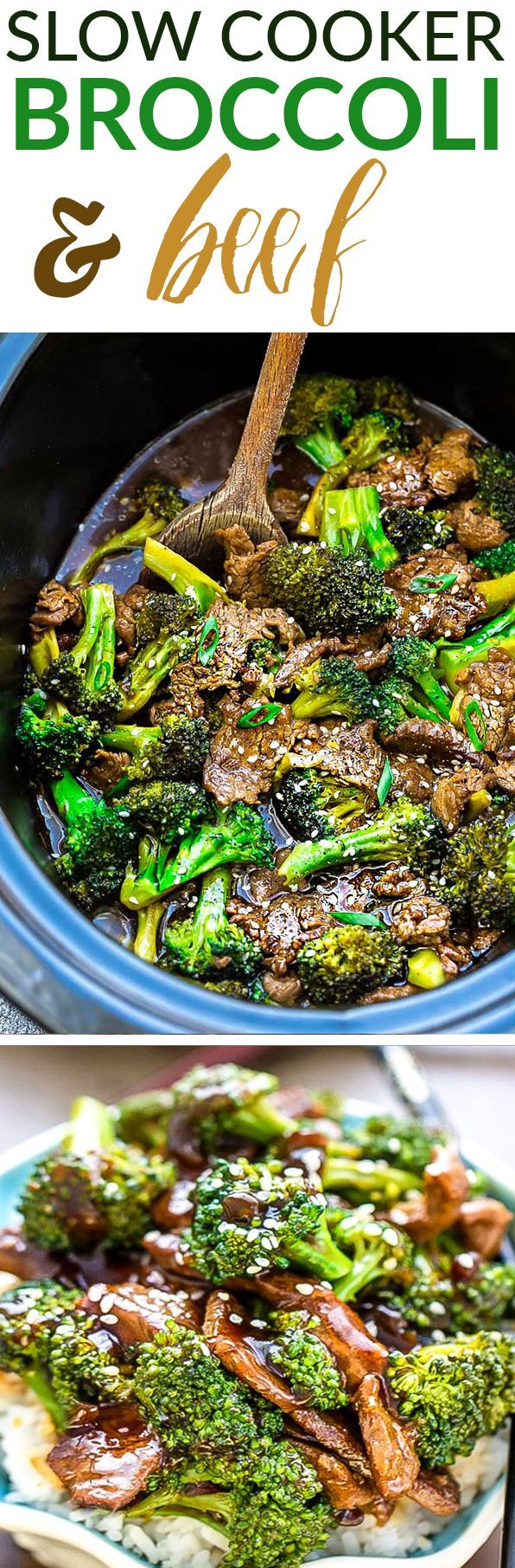 Slow Cooker Beef & Broccoli - an easy set and forget Chinese takeout favorite perfect for busy weeknights. Best of all, the beef cooks up melt-in your mouth delicious in a rich and savory sauce.  Recipe also includes Instant Pot directions and works great for Sunday meal prep for work or school lunchboxes. #beef #broccoli #recipe #chinesetakeout #mealprep #takeoutfakeout #slowcooker
