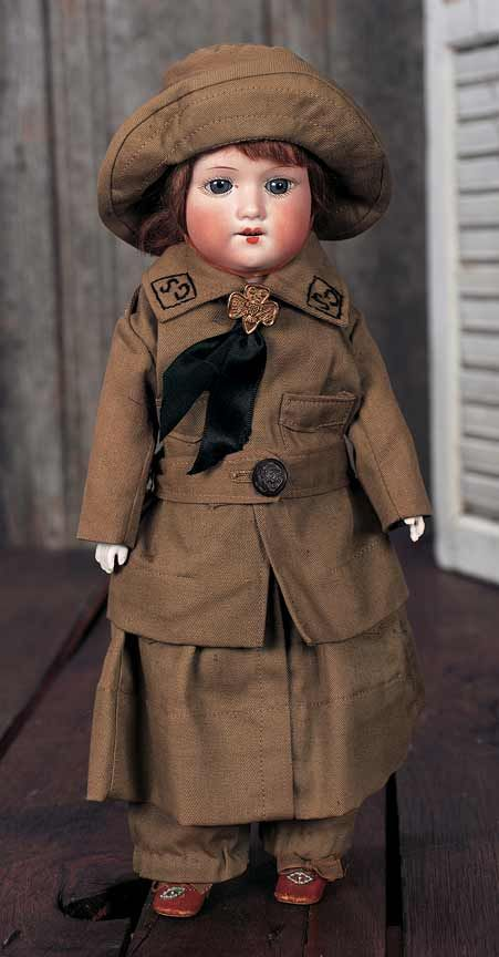 Way vintage Girl Scout doll uniform!  Theriault's Antique Doll Auctions
