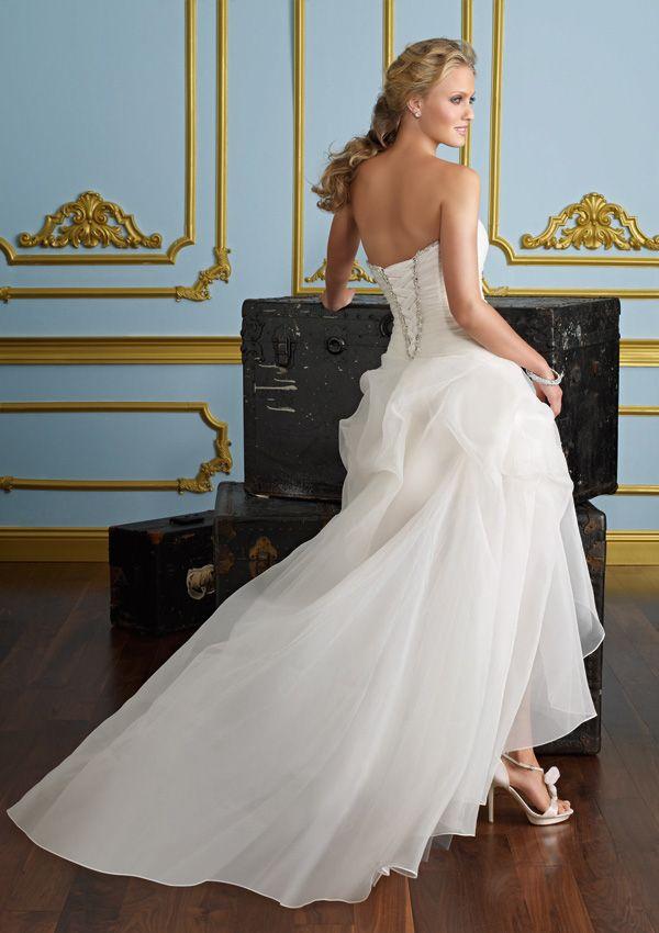Elegant A-Line/Princess Strapless Asymmetrical Wedding Dress With Beading 10989369 - Short Wedding Dresses - bridalup.Com