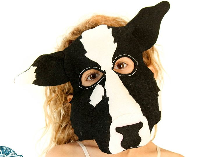 Cow Mask PDF. Mask Sewing PATTERN- Kids Cow Costume.
