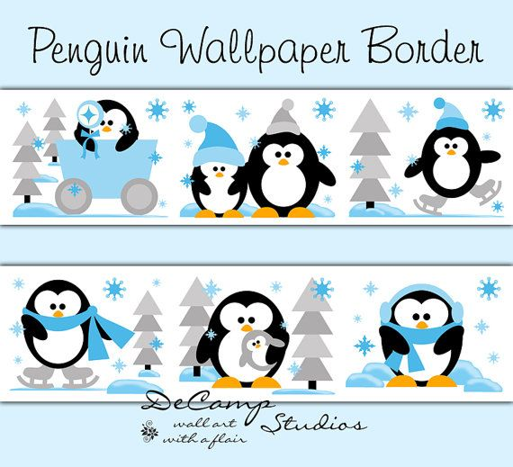 Penguin Wallpaper Border Wall Decals for baby girl or boy nursery or children's bedroom decor. Playful penguins enjoying the snow and ice #decampstudios